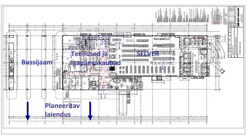 Jwe keskuse planeering täna (1. korrus)
