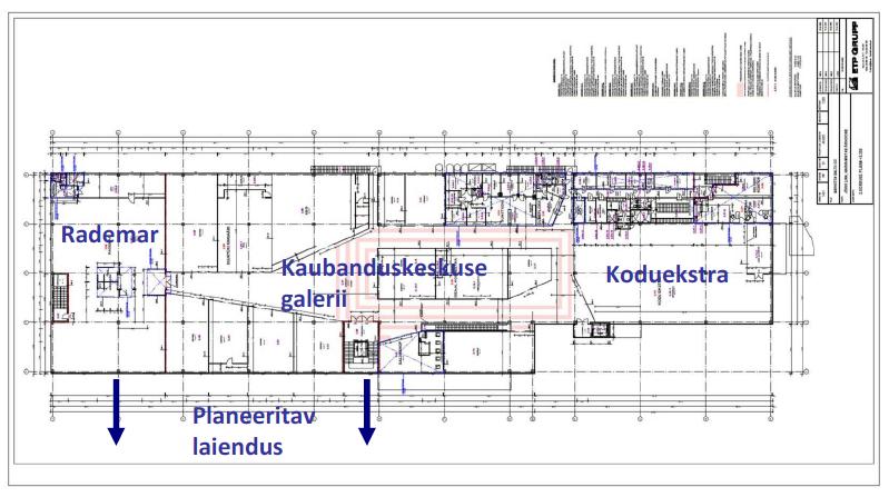 Jewe keskuse planeering täna (2. korrus)